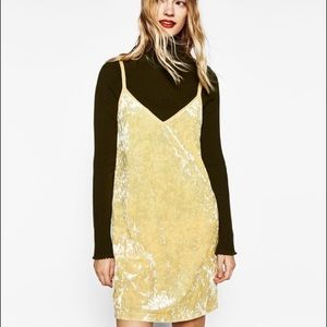 ZARA Yellow Crushed Velvet Mini Dress